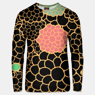Thumbnail image of Art chrysanthemums flowers in black and gold print Unisex sweater, Live Heroes