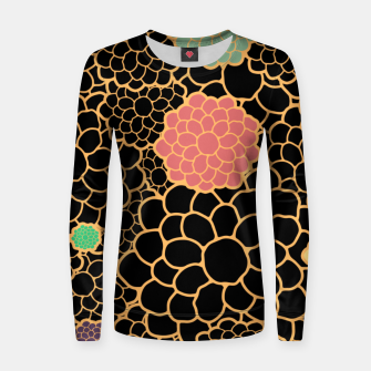 Thumbnail image of Art chrysanthemums flowers in black and gold print Women sweater, Live Heroes
