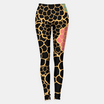 Thumbnail image of Art chrysanthemums flowers in black and gold print Leggings, Live Heroes