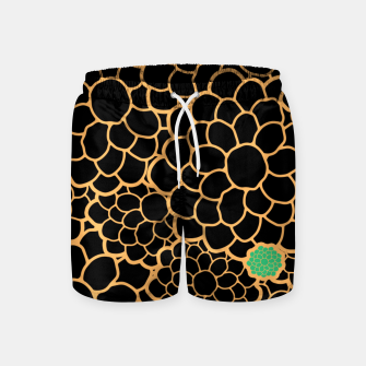 Thumbnail image of Art chrysanthemums flowers in black and gold print Swim Shorts, Live Heroes