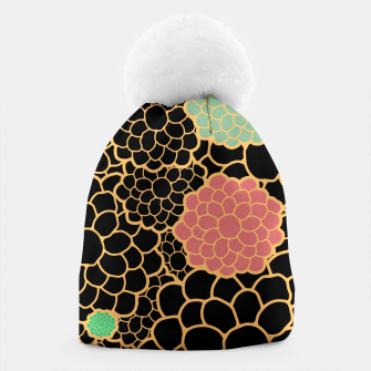 Thumbnail image of Art chrysanthemums flowers in black and gold print Beanie, Live Heroes