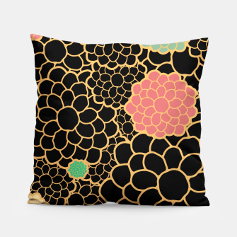 Thumbnail image of Art chrysanthemums flowers in black and gold print Pillow, Live Heroes