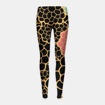 Thumbnail image of Art chrysanthemums flowers in black and gold print Girl's leggings, Live Heroes