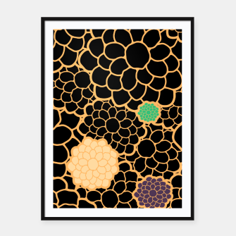 Thumbnail image of Art chrysanthemums flowers in black and gold print Framed poster, Live Heroes