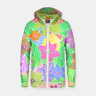 Imagen en miniatura de Fresh colors imaginary garden, botanical motifs Zip up hoodie, Live Heroes