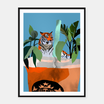 Miniatur Coffee tiger Framed poster, Live Heroes
