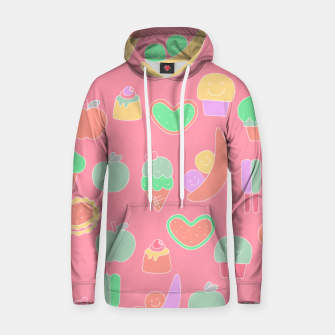 Thumbnail image of Sweet temptations, pink pastries, fruits and love Hoodie, Live Heroes