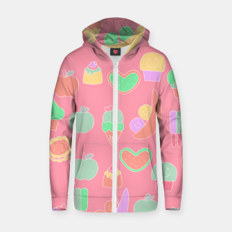 Miniatur Sweet temptations, pink pastries, fruits and love Zip up hoodie, Live Heroes