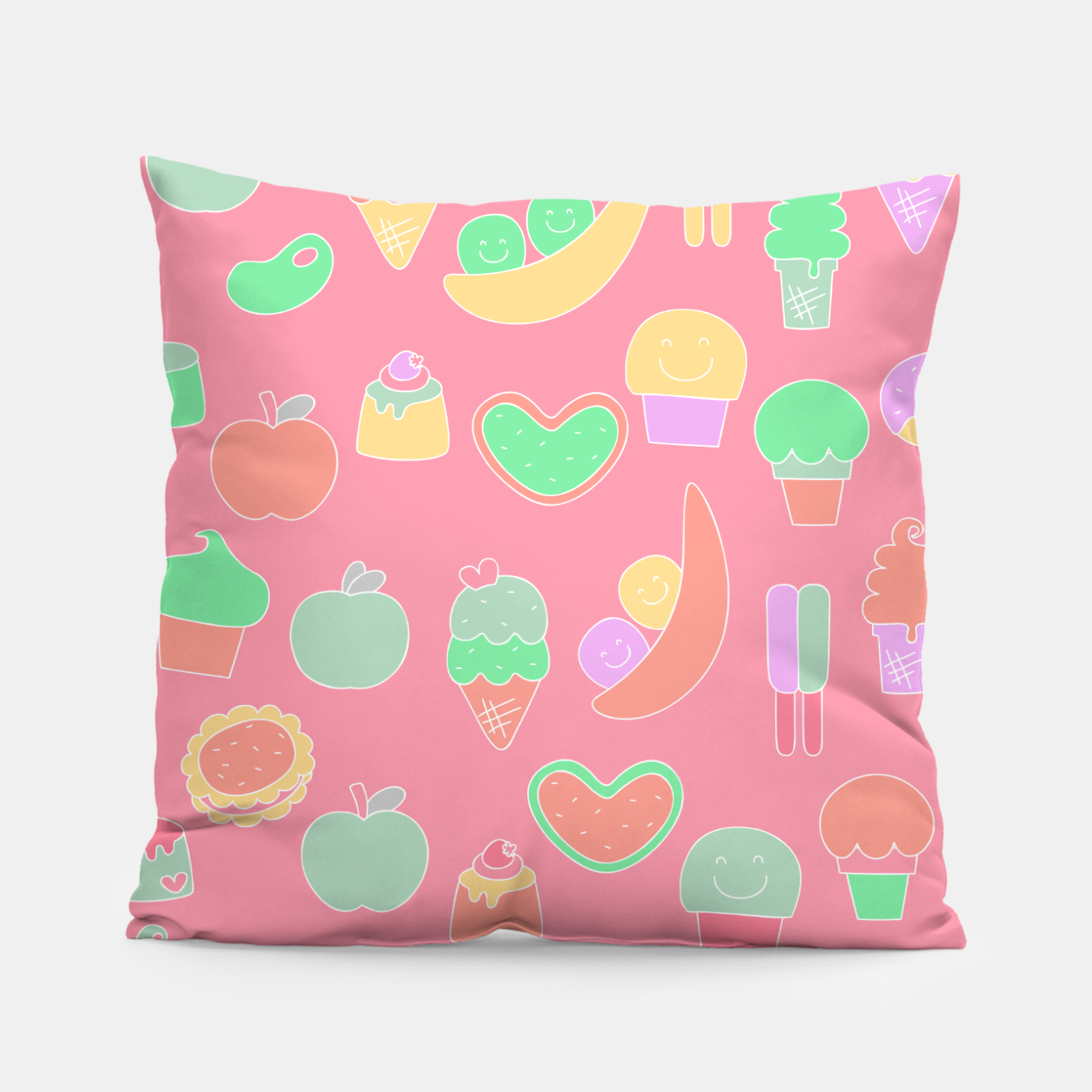 Image of Sweet temptations, pink pastries, fruits and love Pillow - Live Heroes