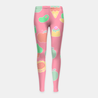 Sweet temptations, pink pastries, fruits and love Girl's leggings thumbnail image