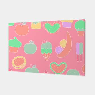 Thumbnail image of Sweet temptations, pink pastries, fruits and love Canvas, Live Heroes