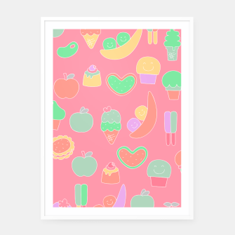Thumbnail image of Sweet temptations, pink pastries, fruits and love Framed poster, Live Heroes