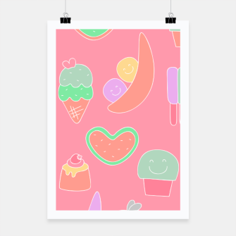 Thumbnail image of Sweet temptations, pink pastries, fruits and love Poster, Live Heroes