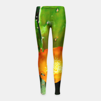 Thumbnail image of cactus blossom vibrant Girl's leggings, Live Heroes