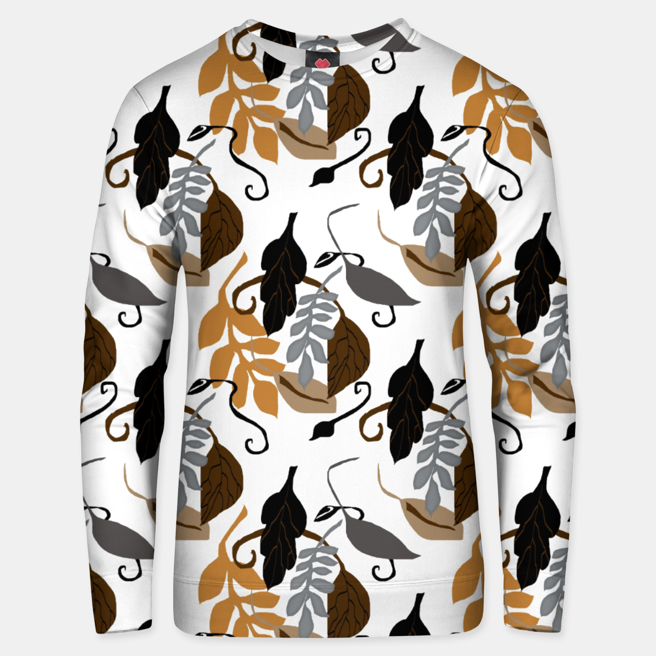 Image of Gray Brown Neutral Leaves Pattern Unisex sweater - Live Heroes