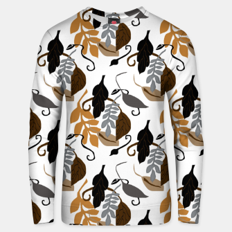 Gray Brown Neutral Leaves Pattern Unisex sweater thumbnail image