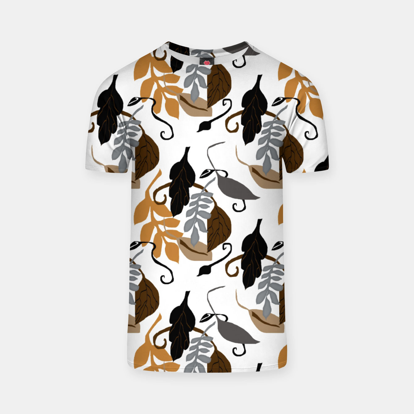 Image of Gray Brown Neutral Leaves Pattern T-shirt - Live Heroes