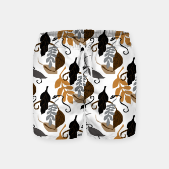 Gray Brown Neutral Leaves Pattern Swim Shorts thumbnail image