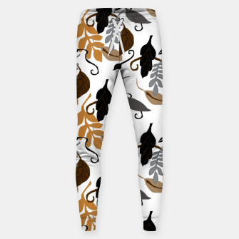 Gray Brown Neutral Leaves Pattern Sweatpants thumbnail image