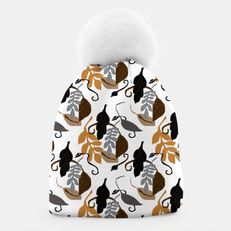 Gray Brown Neutral Leaves Pattern Beanie thumbnail image
