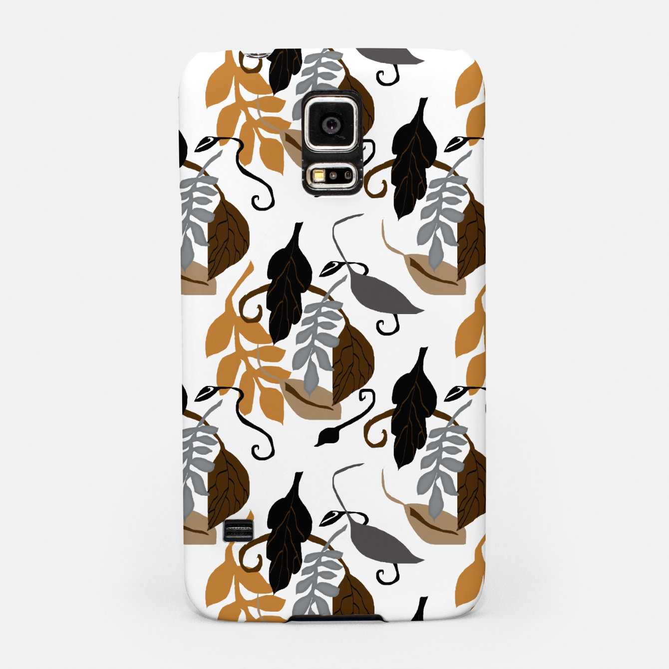 Image of Gray Brown Neutral Leaves Pattern Samsung Case - Live Heroes