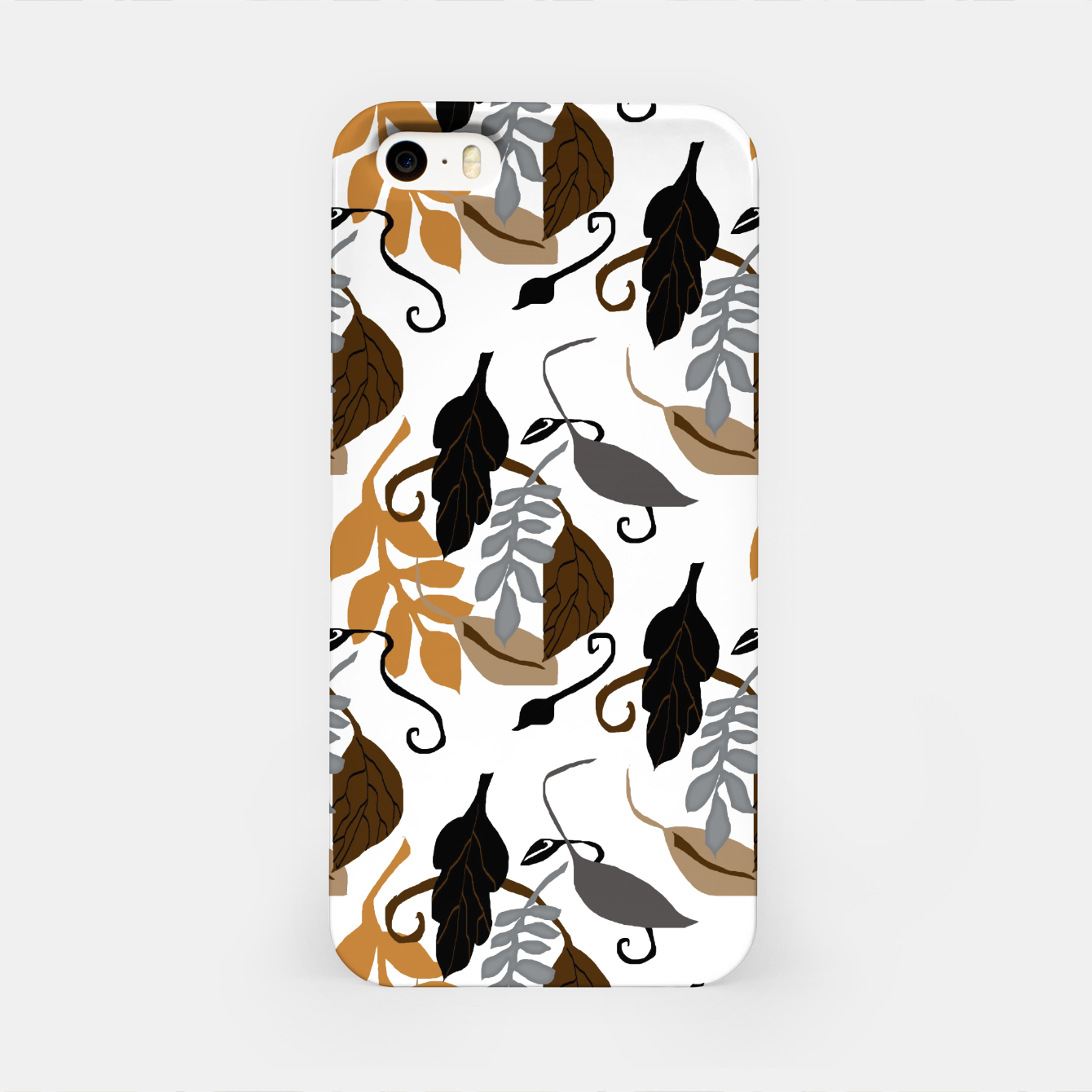 Image of Gray Brown Neutral Leaves Pattern iPhone Case - Live Heroes