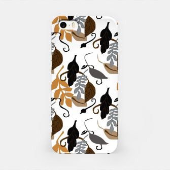 Gray Brown Neutral Leaves Pattern iPhone Case thumbnail image