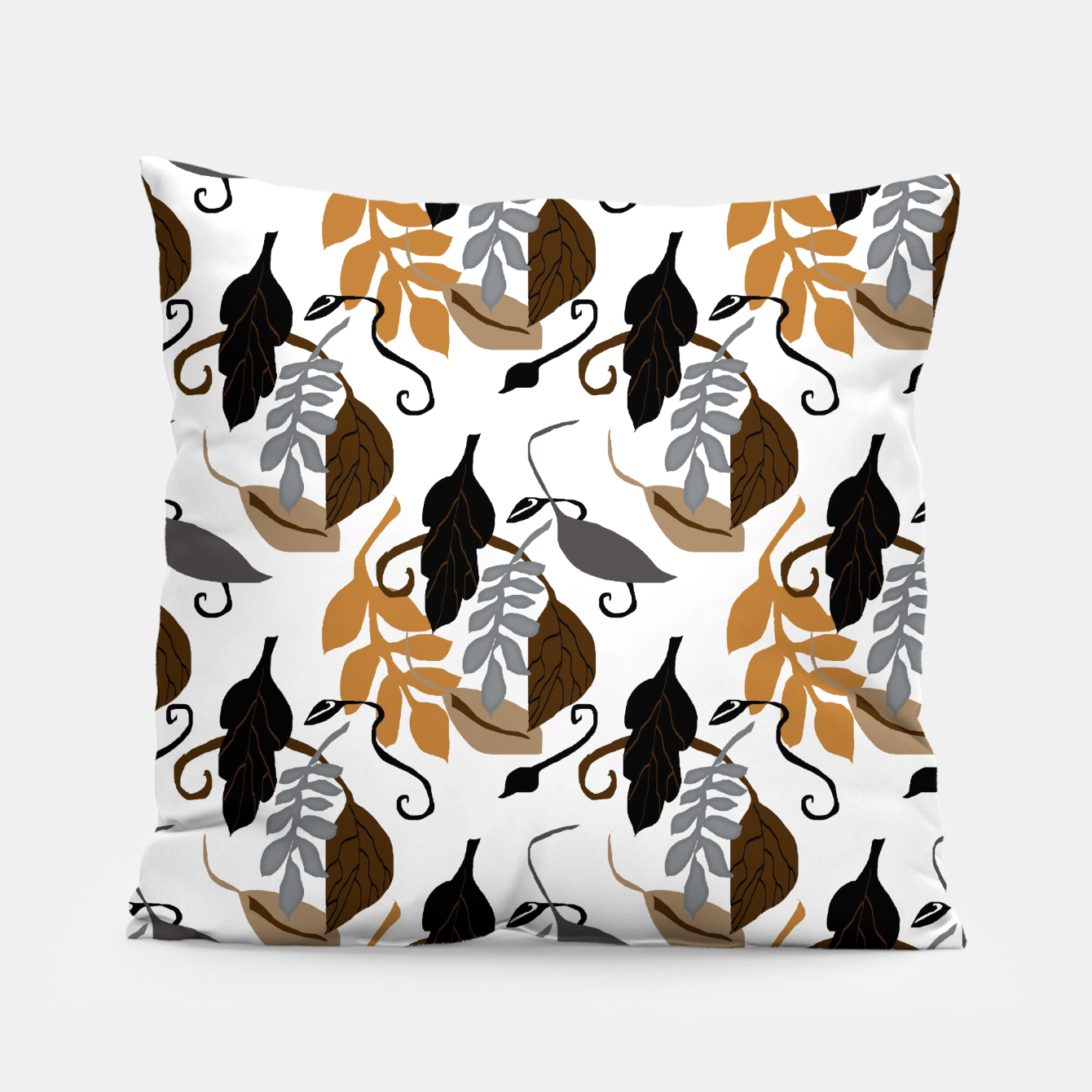Image of Gray Brown Neutral Leaves Pattern Pillow - Live Heroes