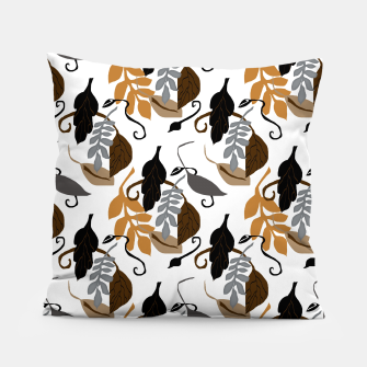 Gray Brown Neutral Leaves Pattern Pillow thumbnail image