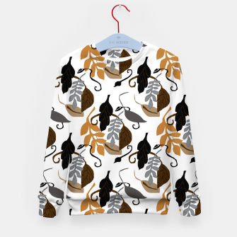 Gray Brown Neutral Leaves Pattern Kid's sweater thumbnail image