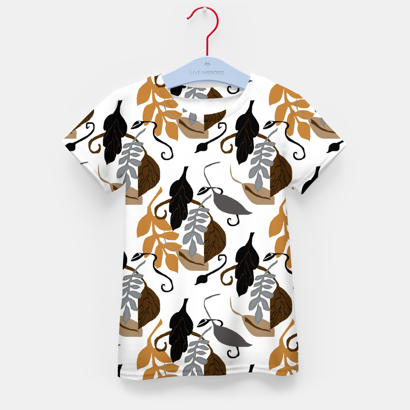 Image of Gray Brown Neutral Leaves Pattern Kid's t-shirt - Live Heroes