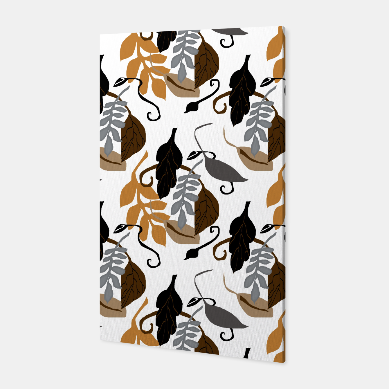 Image of Gray Brown Neutral Leaves Pattern Canvas - Live Heroes