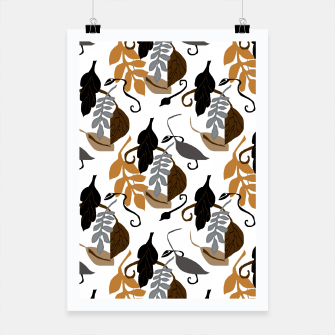 Gray Brown Neutral Leaves Pattern Poster thumbnail image