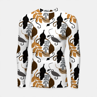 Thumbnail image of Gray Brown Neutral Leaves Pattern Longsleeve rashguard , Live Heroes