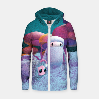 Thumbnail image of Aliens in a 3D space Zip up hoodie, Live Heroes