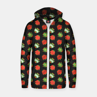 Thumbnail image of Ugly Christmas Sweater Pattern Zip up hoodie, Live Heroes