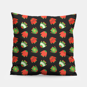 Thumbnail image of Ugly Christmas Sweater Pattern Pillow, Live Heroes