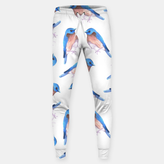 Eastern bluebird or Sialia sialis bird seamless watercolor birds painting Sweatpants Bild der Miniatur
