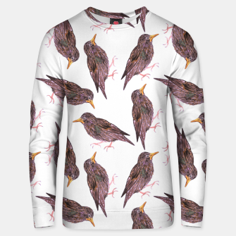 Miniatur Common starling or European starling or Sturnus vulgaris bird watercolor painting Unisex sweater, Live Heroes