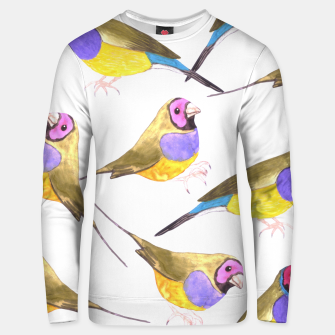 Miniatur Red headed male Gouldian finch or Erythrura gouldiae watercolor birds painting Unisex sweater, Live Heroes