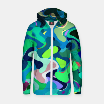 Miniaturka Deep underwater, abstract nautical print in blue shades Zip up hoodie, Live Heroes