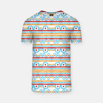 Miniaturka Folk Style Striped Pattern Design T-shirt, Live Heroes