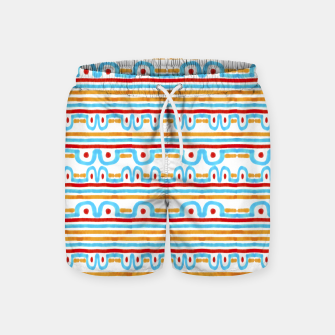 Miniaturka Folk Style Striped Pattern Design Swim Shorts, Live Heroes