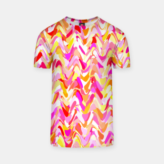Thumbnail image of Waves in pink and orange shades, fresh summer color design T-shirt, Live Heroes