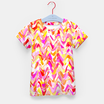 Miniaturka Waves in pink and orange shades, fresh summer color design Kid's t-shirt, Live Heroes
