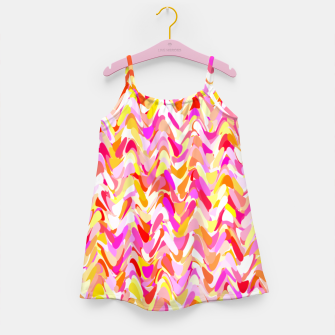 Miniaturka Waves in pink and orange shades, fresh summer color design Girl's dress, Live Heroes
