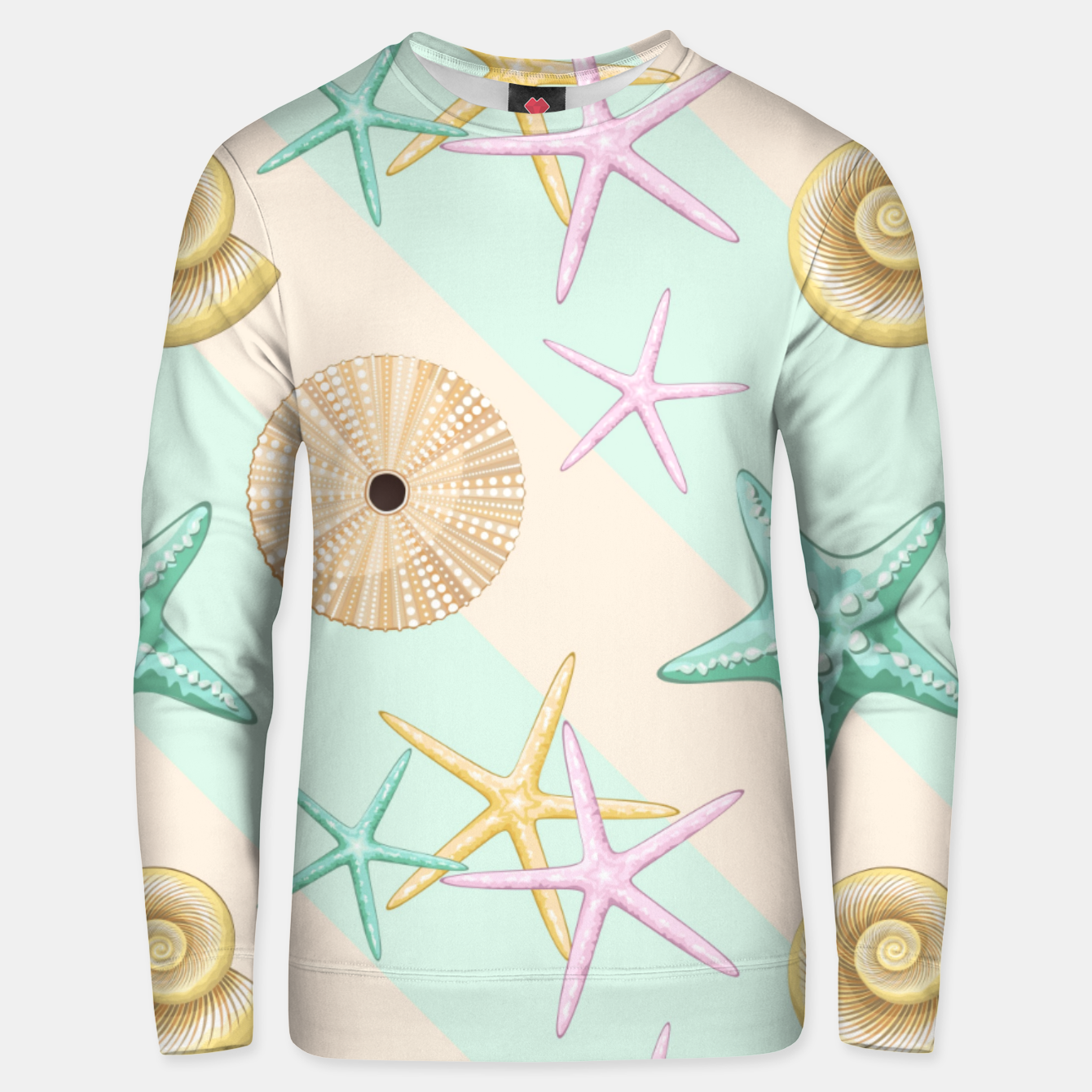 Image of Seashells and starfish Beach Summer Pattern Unisex sweater - Live Heroes