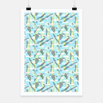 Thumbnail image of Seagulls (Light Blue Background) Poster, Live Heroes