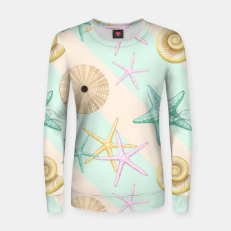 Seashells and starfish Beach Summer Pattern Women sweater thumbnail image