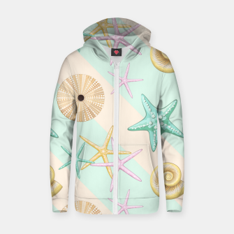 Thumbnail image of Seashells and starfish Beach Summer Pattern Zip up hoodie, Live Heroes